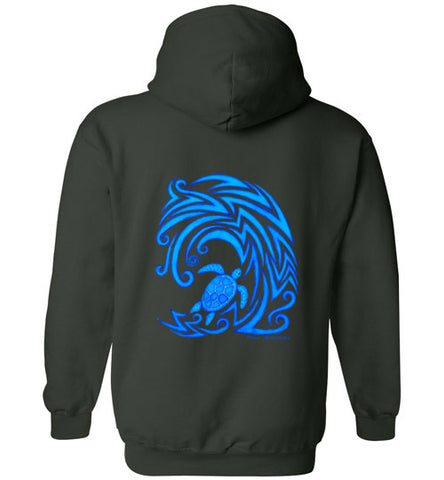 Blue Honu n Waves Tribal Hoodie