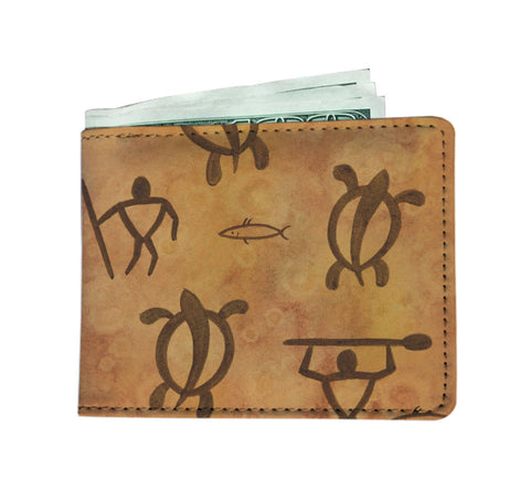 Hawaiian Petroglyph Warrior RFID-blocking Men's Wallet - Pono Artworks