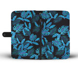 Tropical Blue Leaves RFID-blocking Phone Wallet - Pono Artworks