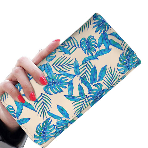 Ivory Tropical Blue Leaves RFID-blocking Women's Wallet