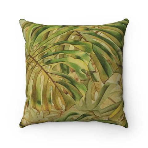 Green Tropical Monstera Jungle Leaves Accent Pillow - Pono Artworks