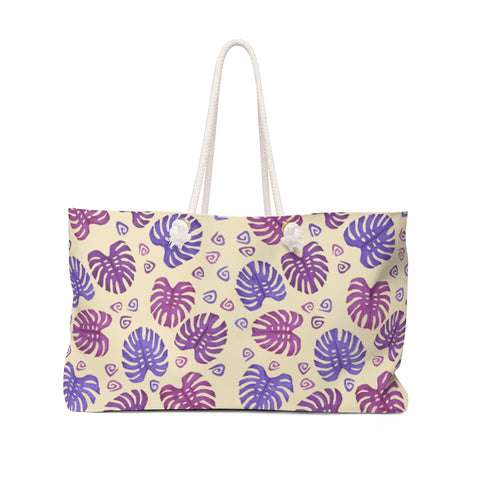 Tropical Monstera Leaves Weekender Bag