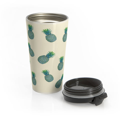 Blue Tropical Pineapples Stainless Steel Travel Mug