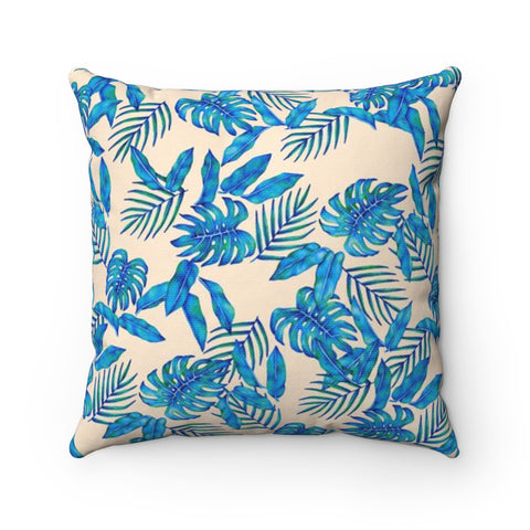 Ivory Tropical Blue Leaves Accent Pillow