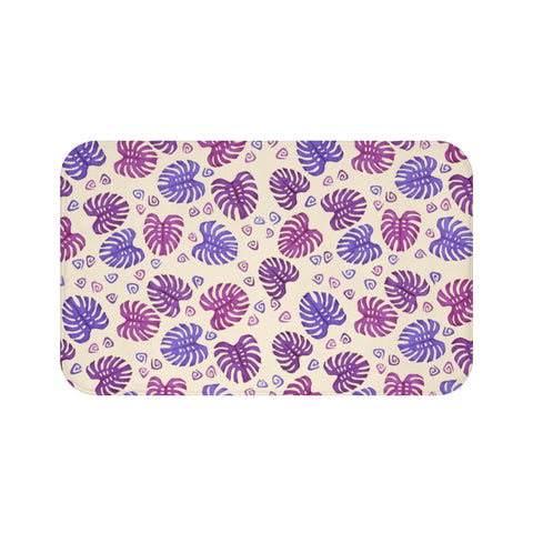 Purple Tropical Monstera Leaves Bath Mat