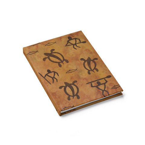 Hawaiian Petroglyph Warrior and Honu Hardcover Journal - Ruled Line - Pono Artworks