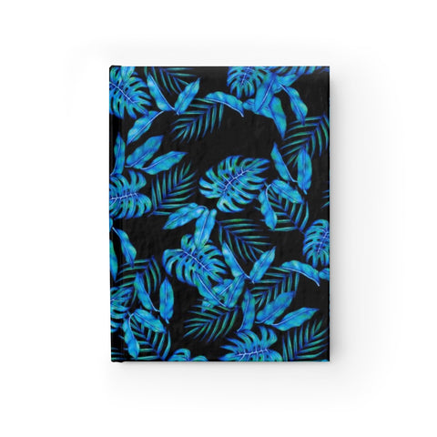 Tropical Blue Leaves Hardcover Journal - Ruled Line