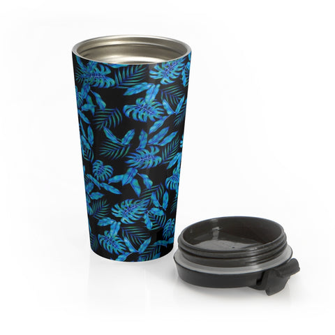 Tropical Blue Leaves Stainless Steel Travel Mug - Pono Artworks
