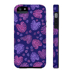Navy & Purple Tropical Monstera Leaves Case Mate Tough Phone Cases - Pono Artworks