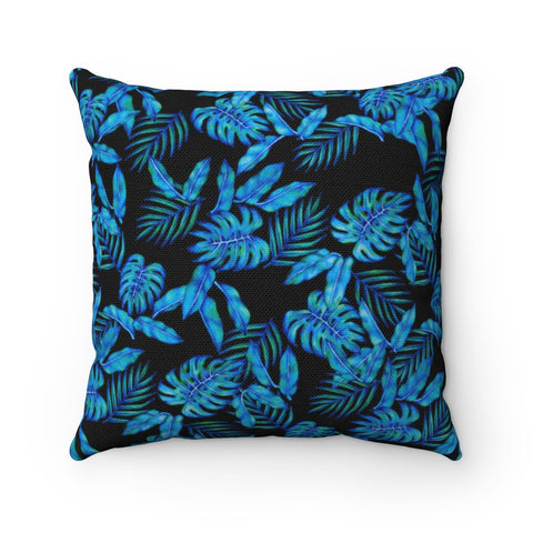 Tropical Blue Leaves Accent Pillow - Pono Artworks