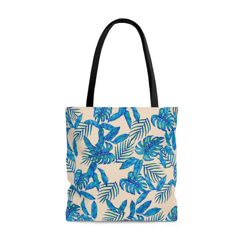 Ivory Tropical Blue Leaves Tote Bag