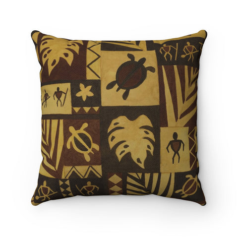 Hawaiian Petroglyph Warrior Tapa Pillow Case Only