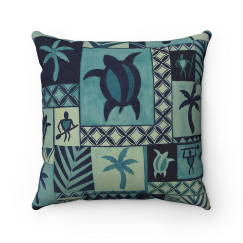 Blue Hawaiian Petroglyph Warrior Tapa Pillow Case Only