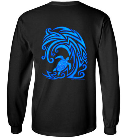 Blue Honu n Wave Tribal Long Sleeve Tee