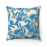 Ivory Tropical Blue Leaves Pillow Case Only