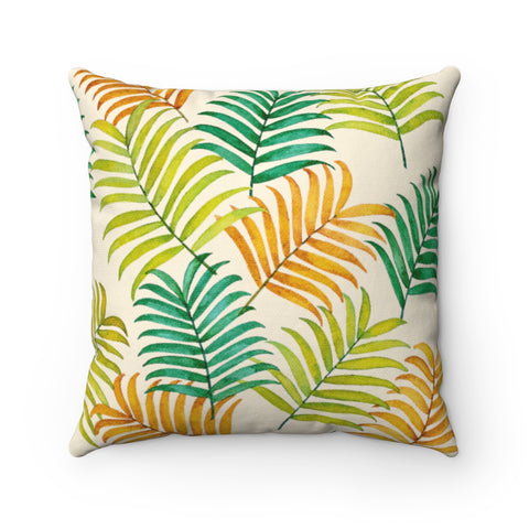 Colorful Tropical Palm Tree Leaves Accent Pillow - Pono Artworks