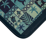 Blue Hawaiian Petroglyph Warrior n Honu Bath Mat - Pono Artworks