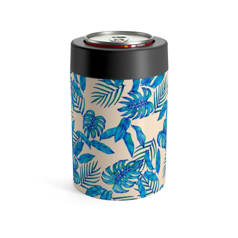 Tropical Blue Leaves Stainless Steel Can/bottle Holder