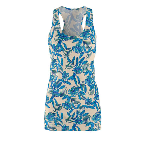 Ivory Tropical Blue Leaves Racerback Dress