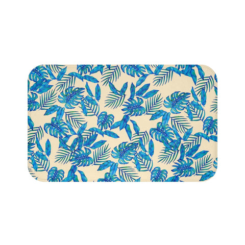 Tropical Blue Leaves Bath Mat