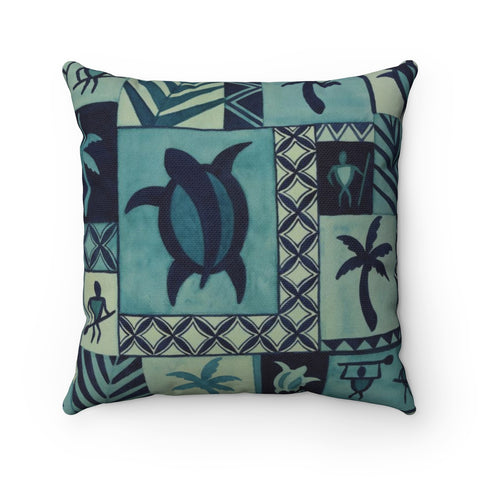 Blue Hawaiian Petroglyph Warrior Tapa Spun Polyester Square Pillow