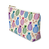 Colorful Tropical Pineapples Accessory Pouch w T-bottom