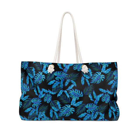 Tropical Blue Leaves Weekender Bag