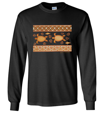 Hawaiian Honu n Fish Tribal Long Sleeve T-shirt - Pono Artworks