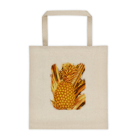 "Rustic Tropical Pineapple 5"" Wide Bottom Tote bag - Pono Artworks"