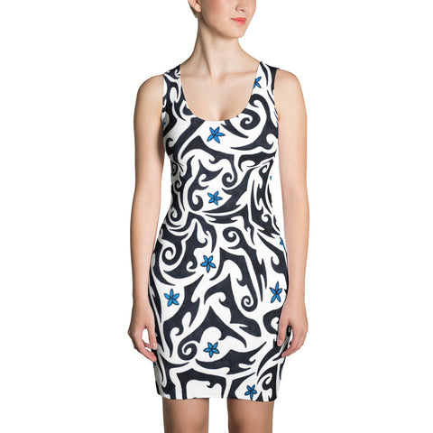 Black and White Tribal Vines Stretchy Tank Dress - Pono Artworks