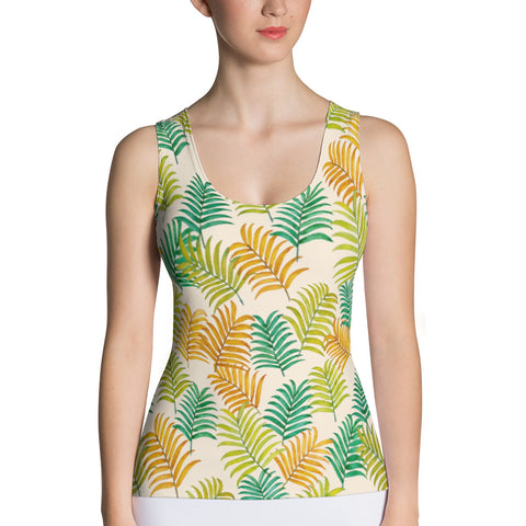 Colorful Tropical Palm Leaves Tank Top - Pono Artworks