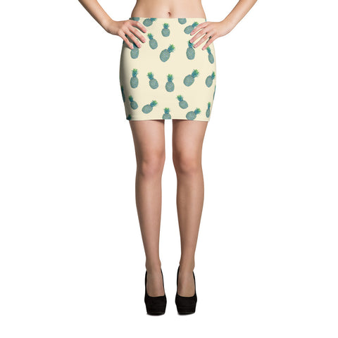 Tropical Blue Pineapples Mini Skirt - Pono Artworks