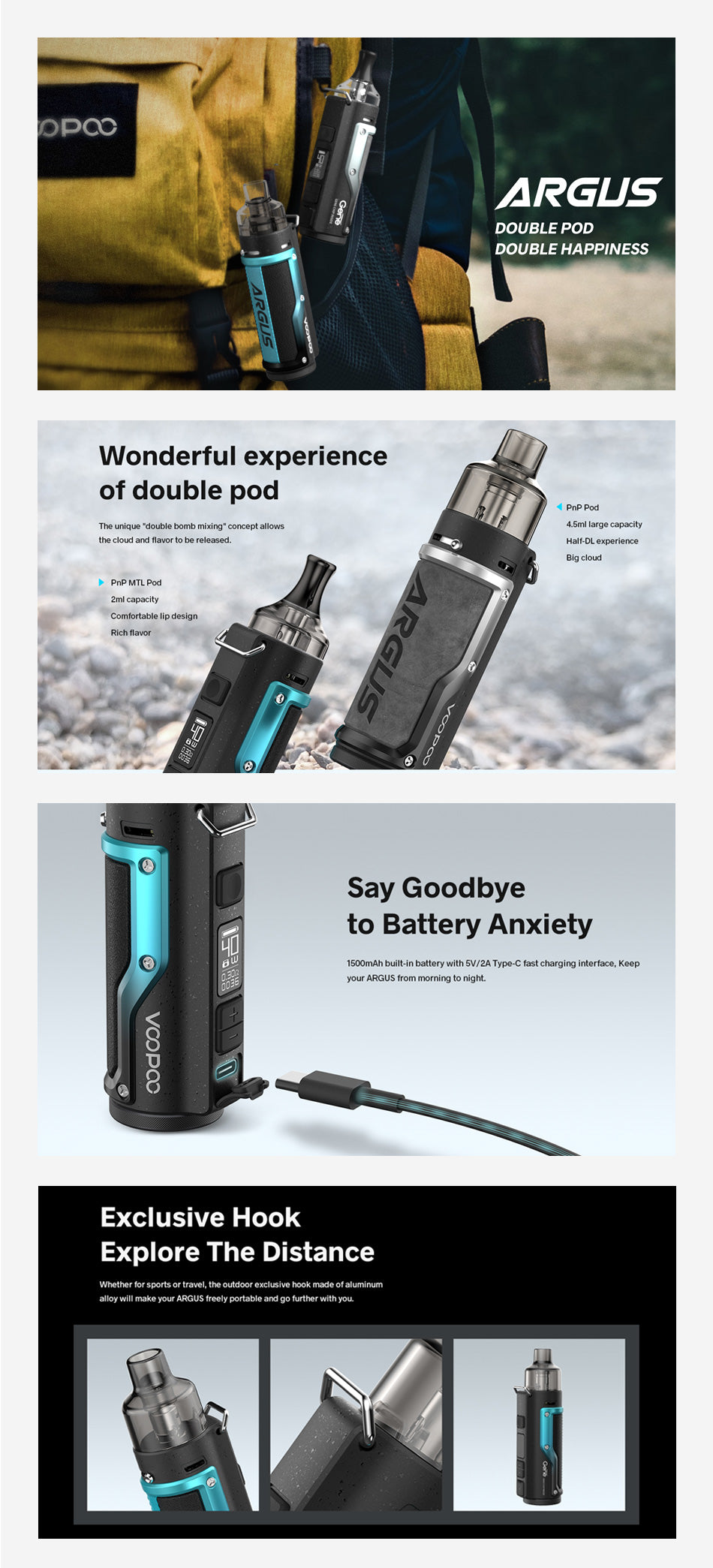 VOOPOO-Argus-1500mAh-Pod-System-Starter-Kit-With-Refillable-2ML-PnP MTL Pod & 4.5ML-PnP Pod
