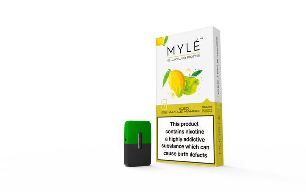 MYLE Vapor Pods - Iced Apple Mango 4 Pods - All Puffs