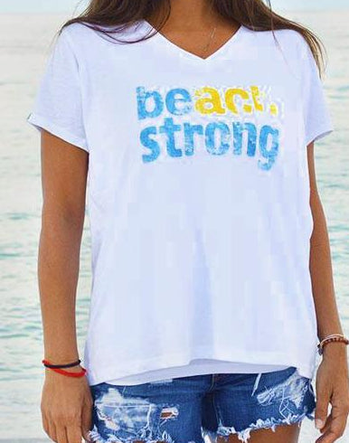 30A V-Neck Beach Strong White