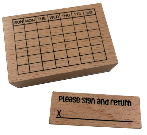 Calendar and Please Sign and Return Stamp