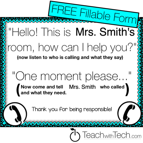Classroom Phone Call Student Prompt Fillable PDF