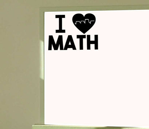 I Heart Math I Love Math Vinyl Wall Decal - Heartbeat Square Root