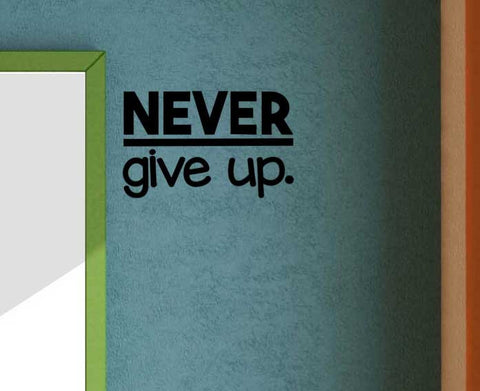 Never Give up Vinyl Wall Decal School Elementary Teacher