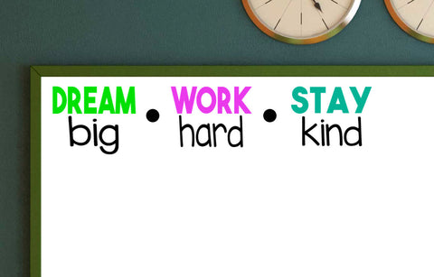 Dream Big Work Hard Stay Kind Vinyl Wall Decal