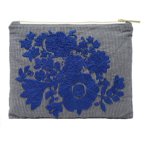 Midnight Bloom Hand Embroidered Bag Pouch