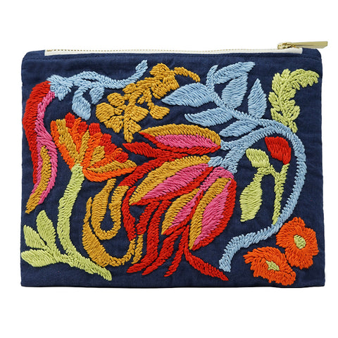 Coral Lily Buds Hand Embroidered Pouch Bag