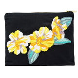 San Peonies Hand Embroidered Pouch Bag