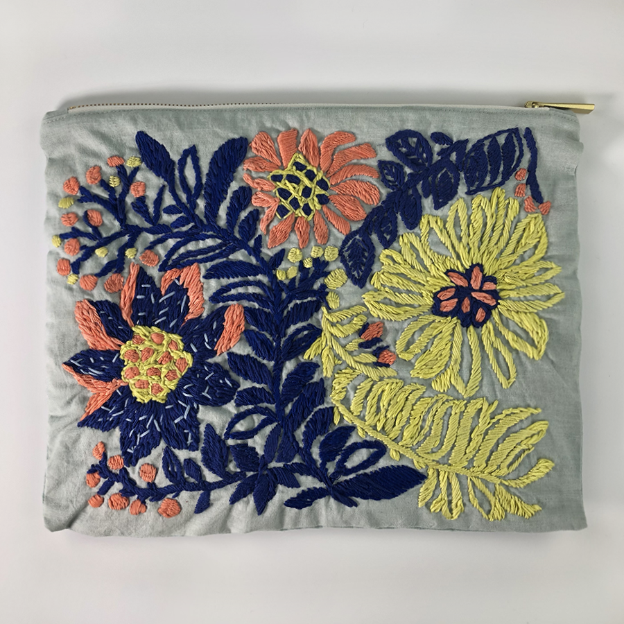 Mums Flower Hand Embroidered Large Travel Pouch
