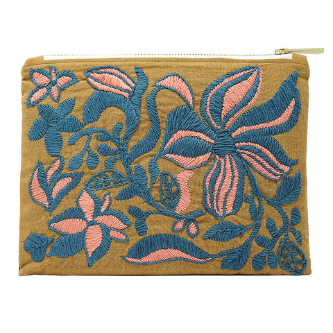 Teal Lilies Hand Embroidered Pouch Bag