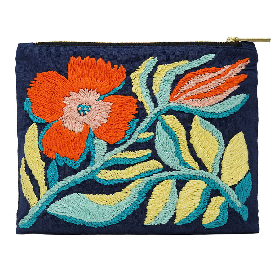Lily of The Valley Hand Embroidered Pouch Bag