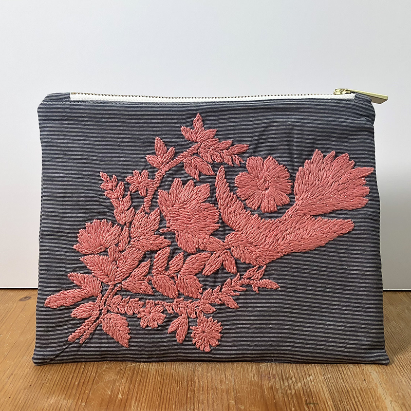 Bird Peonies Grey Hand Embroidered Pouch Bag