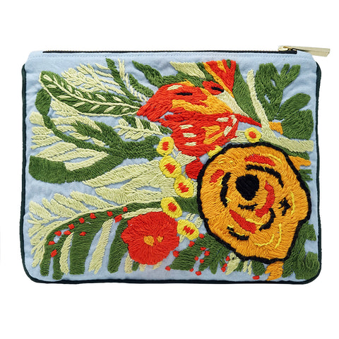 Garden Bunch Hand Embroidered Bag Pouch
