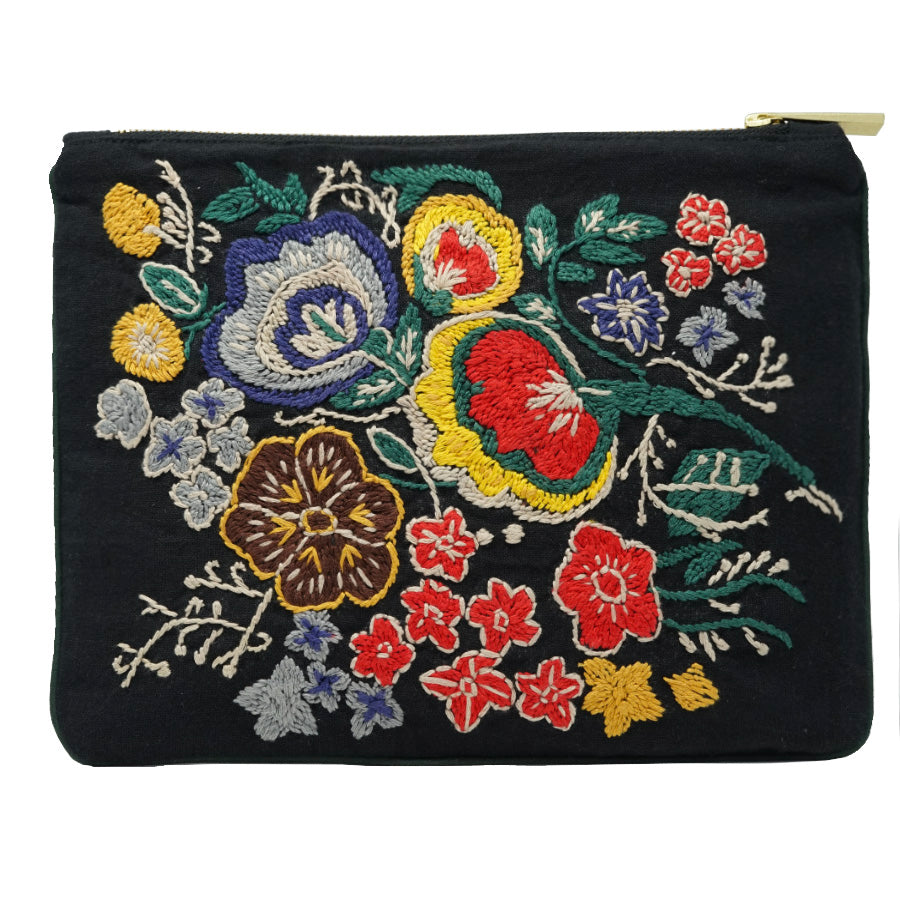 Wallflower Spread Hand Embroidered Pouch Bag