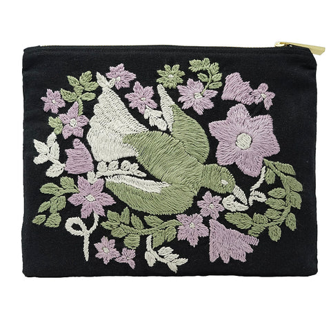 Bird Daisies Hand Embroidered Bag Pouch